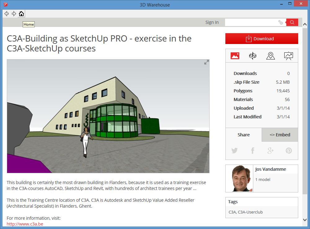 SketchUp PRO nieuwe versie 2014 | c3a